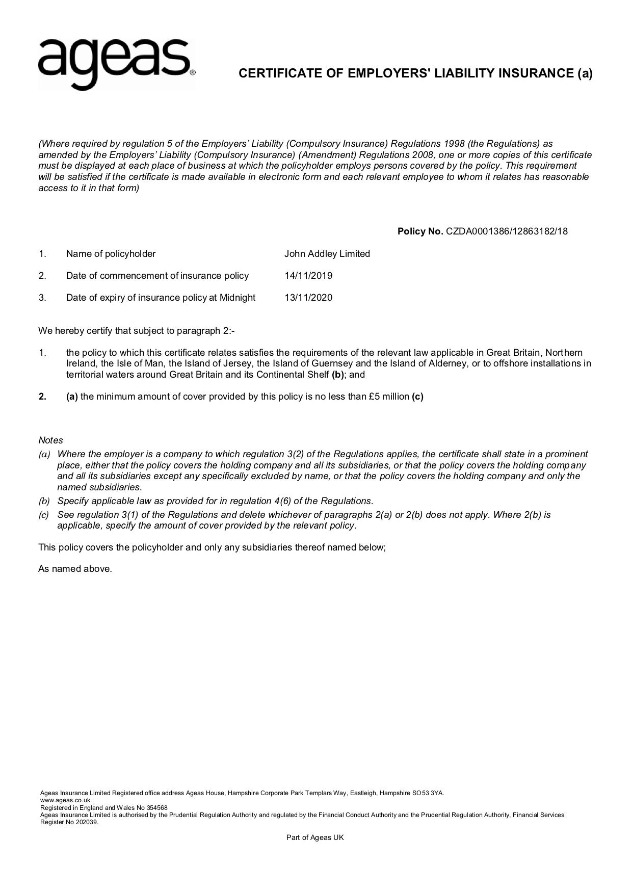 John Addley Limited - EL Cert 19-20